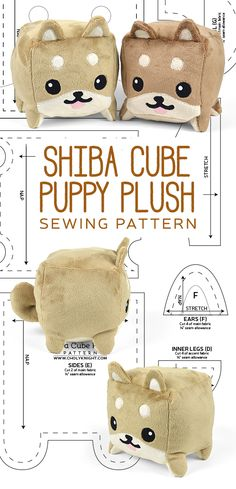 Shiba Cube Plush Sewing Pattern by SewDesuNe.deviantart.com on @DeviantArt