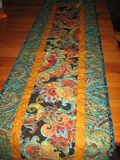 Quilted Table Runner Blue, Red, Orange Green Paisley Table Decor Handmade by TahoeQuilts on Etsy