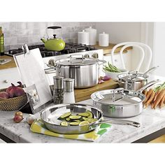 Le Creuset® Tri-Ply Stainless Steel Cookware | Crate and Barrel --Beautiful triply stainless steel with the Le Creuset quality.--aw--