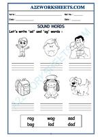 Worksheet of Class-Prep-'ag' and 'ad' sound words-Sound Words-Reading-English Printable English Worksheets, Blends Worksheets, Reading Worksheets, Kindergarten Worksheets, Free Printables, Sound Words, English Reading, Ads, How To Plan