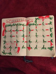 December journal calendar done in seasonal colours.