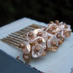 Keishi Pearl  Haircomb  Amber Crystal  Golden Glow by chrdesigns, $45.00
