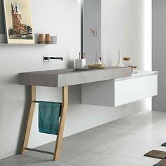 Mueble de baño altamente refinado, inspirado en los años cincuenta y sesenta con un toque escandinavo. Clase y minimalismo en uno.#neoceramica #baños #interiorismo #bathroom #design