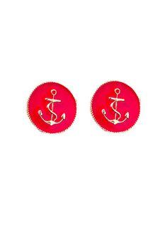 Red Circle Anchor Stud Earrings $6.50 | e-closet