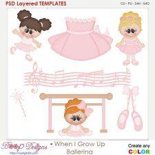 When I Grow Up Ballerina Layered Element Templates cudigitals.com clipart template cu commercial scrap scrapbook digital graphics #cu #scrapbooking #photoshop #digiscrap