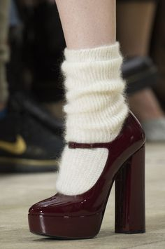 Miu Miu at Paris Fashion Week Fall 2018 - Burgundy heels with wool socks. Burgundy heels with wool socks. Burgundy heels with wool socks. Dr Shoes, Sock Shoes, Cute Shoes, Me Too Shoes, Shoes Sandals, Fashion Week Paris, New York Fashion, Runway Fashion, London Fashion