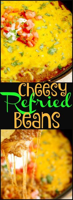 Cheesy Refried Beans is a delicious side dish that doubles as an appetizer or even a main meal. It's a must-have in your weeknight or game day lineup. Easy Homemade Recipes, Top Recipes, Cooking Recipes, Bean Recipes, Yummy Recipes, Meat Appetizers, Appetizer Recipes, Dinner Recipes, Mexican Dishes