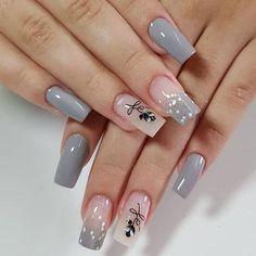 Cute Acrylic Nails, Acrylic Nail Designs, Nail Art Designs, White Nail Designs, Nail Swag, Stylish Nails, Trendy Nails, Hot Nails, Hair And Nails