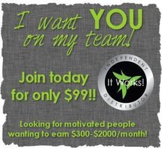 It Works Global is an amazing company ~ Great, unique products that work, the timing is right, and a debt-free company with the vision and momentum where fortunes are made!  A year from now you'll be glad you made the decision to join our team!   https://crazycarrie.myitworks.com