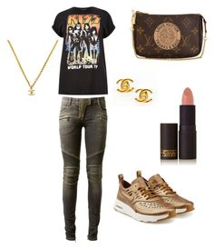 """""""Untitled #133"""" by styledbytine on Polyvore featuring Balmain, Louis Vuitton, River Island, Chanel, Lipstick Queen and NIKE"""
