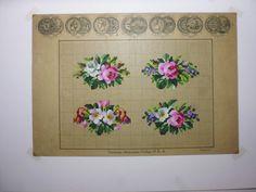 4 Pretty Floral Berlin WoolWork Patterns