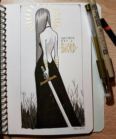 Day 6 - sword ️ Quick one, because I'm so late with this challenge! #inktober2017 #inktober #witchtober