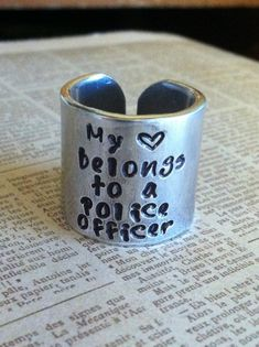 My Heart Belongs to a Police Officer, Fireman, Marine, Soldier, Custom Aluminum hand stamped ring, army wife on Etsy, $16.00