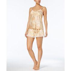 Lauren Ralph Lauren Gilded Ages Printed Satin Pajama Set ($55) ❤ liked on Polyvore featuring intimates, sleepwear, pajamas, gold, camisole sleepwear, satin cami, print cami, satin pajama set and satin pajamas