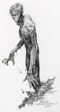 Bernie Wrightson is famous for his horror illustrations. Bd Comics, Horror Comics, Horror Art, Comic Book Artists, Comic Artist, Comic Books Art, Zombie Kunst, Zombie Art, Zombies