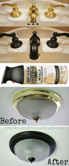 Use Rust-Oleum to paint outdated brass faucets, hardware and fixtures! -- 27 Easy Remodeling Projects That Will Completely Transform Your Home diy home improvement Easy DIY Remodeling Ideas On A Budget (before and after photos) Diy Home Decor Rustic, Easy Home Decor, Cheap Home Decor, Diy Home Decor On A Budget, Condo Decorating On A Budget, Cheap Decorating Ideas, Living Room Ideas On A Budget, Diy Projects On A Budget, Mobile Home Decorating