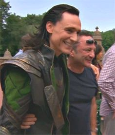 Tom Hiddleston as Loki on the set of Avengers (2012): https://www.youtube.com/watch?v=vvRiT2eIzzo&nohtml5=False Gif-set: http://maryxglz.tumblr.com/post/142484132682/x