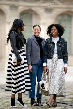 SHIONA TURINI IN VALENTINO SKIRT, RACHEL WAN AND NICOLE CHAPOTEAU IN A FERRAGAMO SKIRT AND CHANEL JACKET AT PARIS WEEK - Fashionista repin BellaDonna