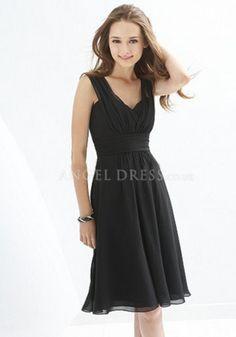 Knee Length Chiffon Queen Anne A line Sleeveless Empire Waist Bridesmaid Gown