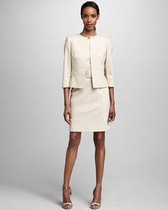 Albert Nipon Diamond-Textured Jacket & Dress Set - Neiman Marcus ...