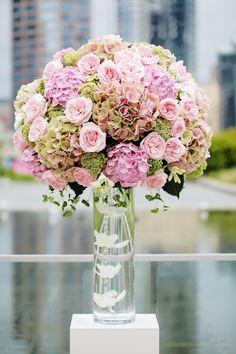 Hydrangea, Trick, Roses, and Bupleurum....swap for deep blue hydrangea and peach roses:)