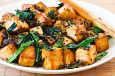 Stir-Fried Tofu Recipe with Scallions, Garlic, Ginger, and Soy Sauce from Kalyn's Kitchen