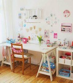 workspace / Craft corner and sewing table via luloveshandmade.