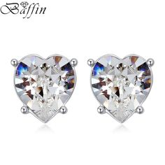 Crystal Heart Stud Earrings Rhodium Plated Piercing For Women Boucle D'oreille femme Pendante Made With SWAROVSKI Elements