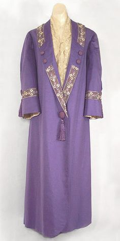 Cashmere coat with embroidered trim, c.1912, from the Vintage Textile archives.