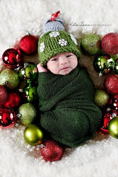 Ornament Hat - Green Christmas Ornament Hat - Christmas - Holiday - Newborn Photo Prop - Sizes Newborn - Toddler