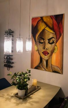 Acryl painting living room update. Woman with turb... - #Acryl #africaine #living #Painting #Room #turb #Update #Woman