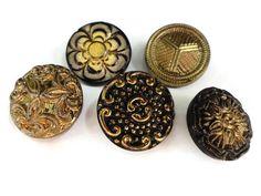 Bottoni di vetro antichi in elegante colore nero e oro - 5 Vintage 1940s 3/4 pollici 19 mm per gioielli perline per cucire nozioni maglieria