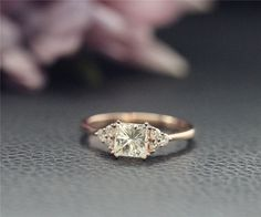 5.5mm Charles & Colvard Princess Moissanite Ring CC by NidaRings