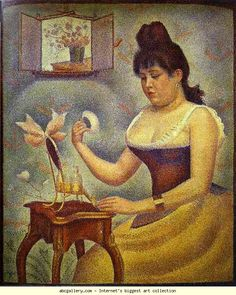 Georges Seurat - Young Woman Powdering Herself fine art preproduction . Explore our collection of Georges Seurat fine art prints, giclees, posters and hand crafted canvas products Georges Seurat, Wassily Kandinsky, Seurat Paintings, Paul Signac, Impressionist Artists, Oil Painting Reproductions, Renoir, French Art, Oeuvre D'art