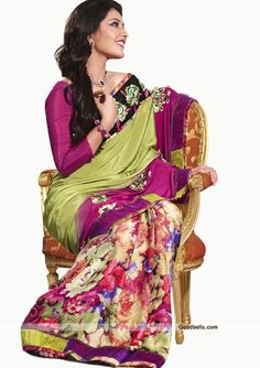 Grab all the attention with this beautiful green saree. Floral printed skirt portion seems pretty and embroidered pallu gives it partywear look. It will look good for semi-formal parties. http://goodbells.com/saree/designer-green-saree-with-printed-skirt-portion.html