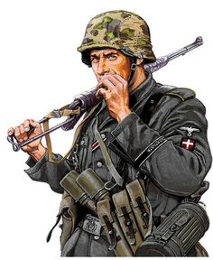 Waffen-SS volunteer of Denmark Ww2 Uniforms, German Uniforms, German Soldiers Ww2, German Army, Military Art, Military History, Army Drawing, Military Drawings, Tactical Gear