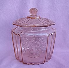 PINK MAYFAIR HOCKING COOKIE BISCUIT JAR~My Grandmother always had this sitting on her table with cookies in it. I have one now.