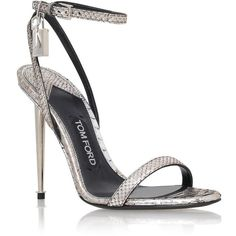 TOM FORD Maison Padlock Python Sandal (€1.100) ❤ liked on Polyvore featuring shoes, sandals, heels, snake print sandals, wedding party shoes, party sandals, ankle strap heel sandals and heeled sandals