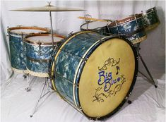 """1930's Walberg and Auge Drum Set """"Big Blue""""  Specs: SIngle Ply Maple Shells with rerings, 14x28 Bass Drum, 7x11, 9x13, 12x14 and 16x16 toms, 5x14 snare. Shells possibly made by Jasper. Rerings and bearing edges fashioned by W&A. Possibly built to 'Perfection' by George Bernard (painted black on the inside)."""