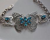 Swarovski Crystal BLUE ZIRCON filigree butterfly vintage inspired victorian bracelet CHARISMA