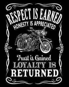 Respect is earned Honesty is appreciated Trust is gained Loyalty is returned