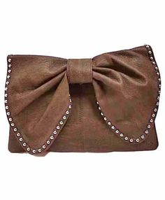 Macie Bow Clutch  Magnetic button flap  Zipper top closure  Fully lined interior/satin, with open with pouches  Optional chain cross-body strap  (L) 11.5 (W) 6.5  $32