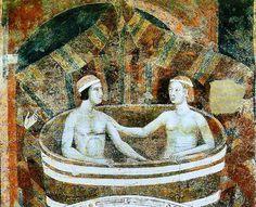 Memmo di Filippuccio, il Podestà e sua moglie al bagno – affresco dal Palazzo Comunale di San Gimignano (Siena), inizio XIV secolo.