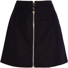 Acne Studios Prisca wool-blend twill mini skirt found on Polyvore featuring skirts, mini skirts, bottoms, saia, midnight blue, twill skirt, front zip skirt, structured a line skirt, acne studios and zipper skirt
