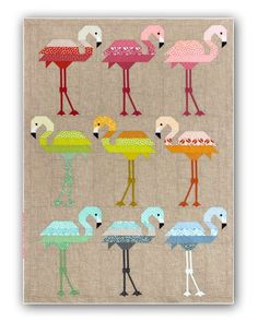 Reserve Yours Now - Shipping Early 2017! We absolutely love this newest design by Elizabeth Hartman! These fun Flamingos are so colorful, and we love the taupe background that sets them off -- so clean and contemporary! This quilt measures 59
