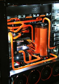 Orange black computer PC tower setup liquid cooled case