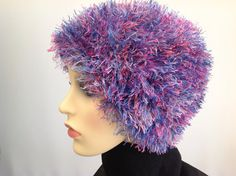 Ladies fun fur hat shades of pinks and blues by Creationsbykandpj, £12.00