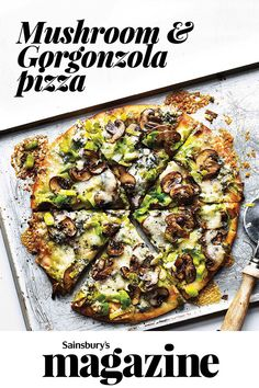 Grab a couple of pizza bases and top with mushrooms, leeks and creamy Gorgonzola for a quick family pizza night Vegetarian Pizza Recipe, Pizza Recipes, Vegetarian Meals, Quick Easy Meals, Easy Dinner Recipes, Easy Recipes, Dinner Ideas, Gorgonzola Pizza, Burger Meat