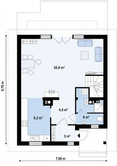 Первый этаж 59,6м² дома Z45 Pedicure Set, Small House Design, Cottage Homes, House Plans, Decoration, Floor Plans, Flooring, How To Plan, Interior