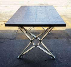 """Modern, Dining Table """"X"""" Legs, Industrial Legs from 3"""" x 1/4"""" Steel flat and 1/4 x 5"""" Mounting flat steel on top. Set of 2 legs."""